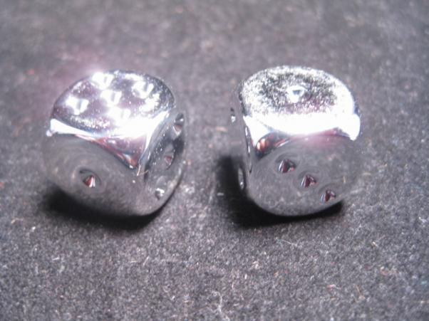 Chessex Dice - Pair Of Silver-plated 16mm D6 w/pips