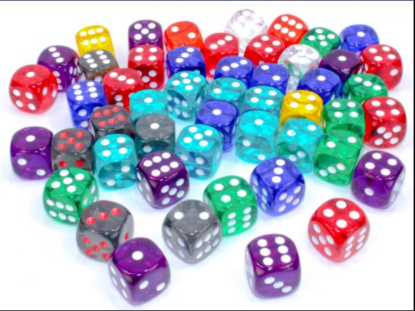 Chessex Bulk Dice Sets: Assorted Translucent 16mm d6 Bag (50)