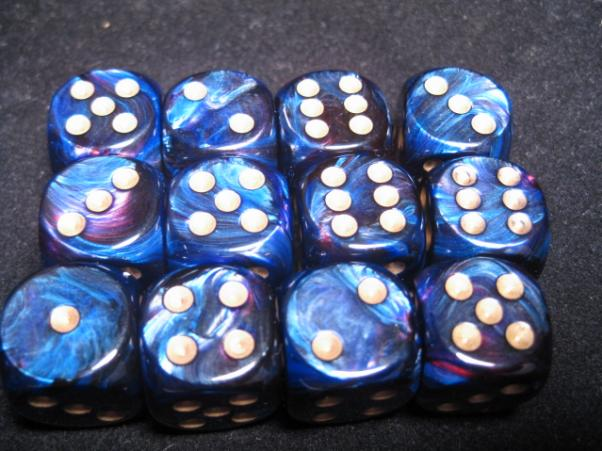 Chessex Dice Sets: Royal Blue/Gold Scarab 16mm d6 (12)