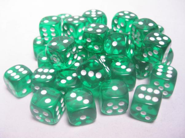 Chessex Dice Sets: Green/White Translucent 12mm d6 (36)