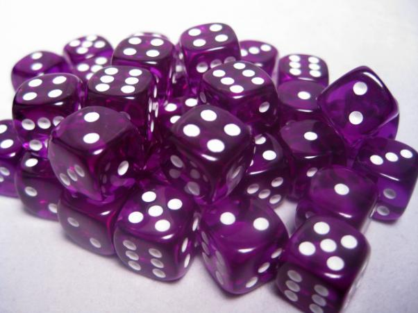Chessex Dice Sets: Purple/White Translucent 12mm d6 (36)