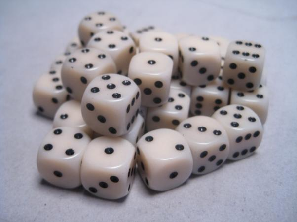 Chessex Dice Sets: Ivory/Black Opaque 12mm d6 (36)
