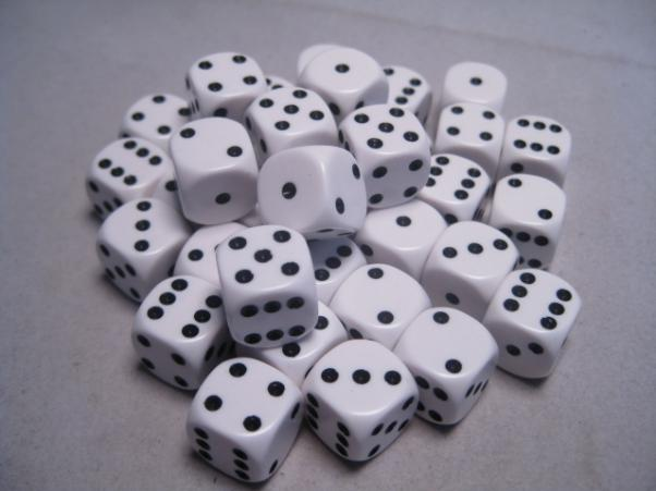 Chessex Dice Sets: White/Black Opaque 12mm d6 (36)