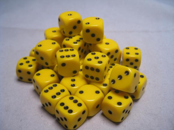 Chessex Dice Sets: Yellow/Black Opaque 12mm d6 (36)