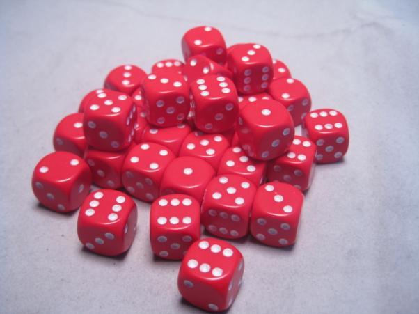 Chessex Dice Sets: Red/White Opaque 12mm d6 (36)