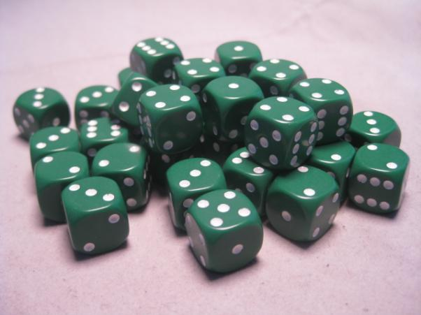 Chessex Dice Sets: Green/White Opaque 12mm d6 (36)