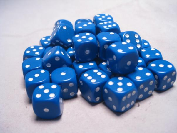 Chessex Dice Sets: Blue/White Opaque 12mm d6 (36)