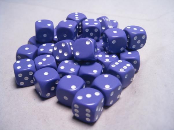 Chessex Dice Sets: Purple/White Opaque 12mm d6 (36)