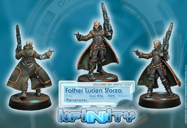Infinity (#322) Mercenaries: Father Lucien Sforza, Authorized Bounty Hunter (Viral Rifle & ADHL) (1)