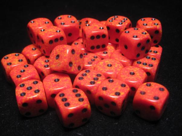 Chessex Dice Sets: Fire Speckled 12mm d6 (36)