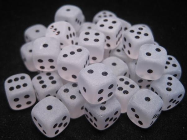 Chessex Dice Sets: Clear/Black Frosted 12mm d6 (36)
