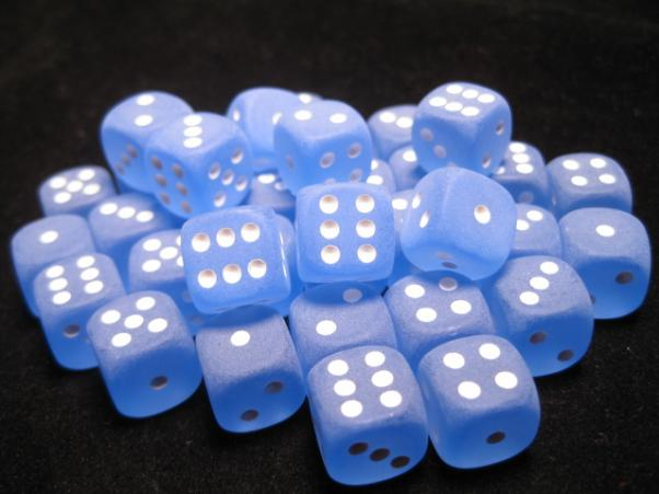 Chessex Dice Sets: Blue/White Frosted 12mm d6 PIP (36)