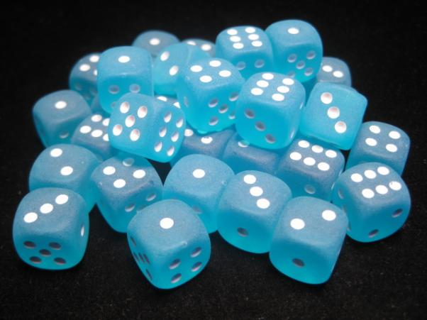 Chessex Dice Sets: Caribbean Blue/White Frosted 12mm d6 (36)