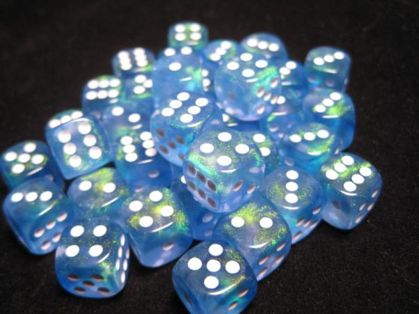 Chessex Dice Sets: Sky Blue/White Borealis 12mm d6 (36)