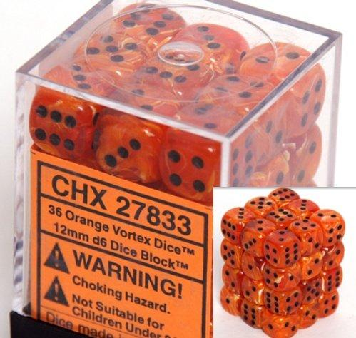 Chessex Dice Sets: Orange/Black Vortex 12mm d6 (36)