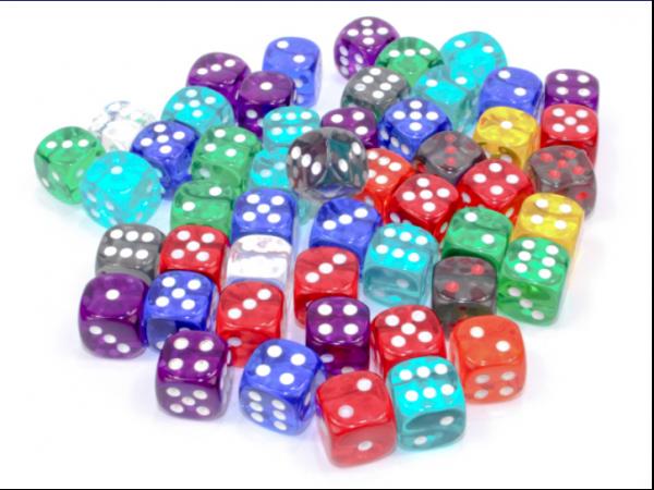 Chessex Bulk Dice Sets: Assorted Translucent 12mm d6 Bag (50)