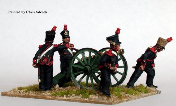 28mm Napoleonic: (French) 6 Pdr Foot Artillery (Firing)
