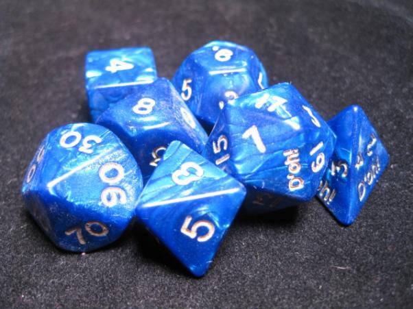 Crystal Caste RPG Dice Sets: Pearl Blue D'oh! Pearl Polyhedral 7-Die Cube/Set