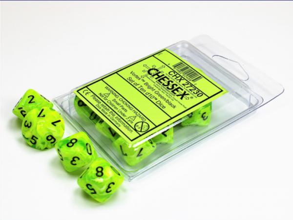 Chessex Dice Sets: Vortex  Bright Green w/Black d10 Set (10)