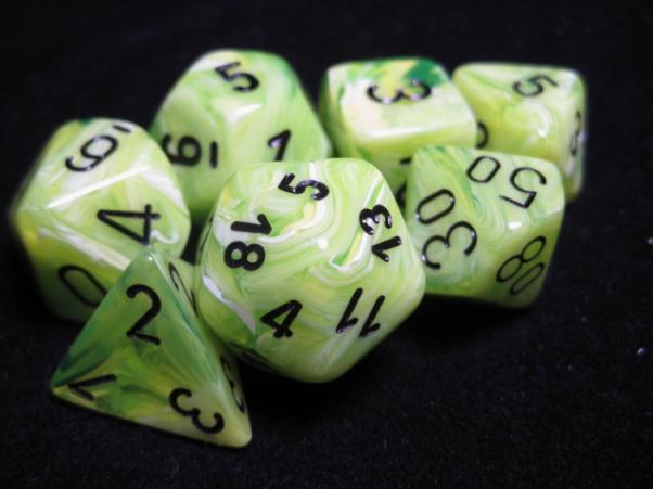 Chessex RPG Dice Sets: Vortex Bright Green w/Black Polyhedral 7-Die Set