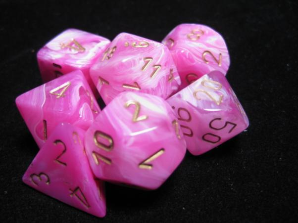 Chessex RPG Dice Sets: Vortex Pink w/Gold Polyhedral 7-Die Set
