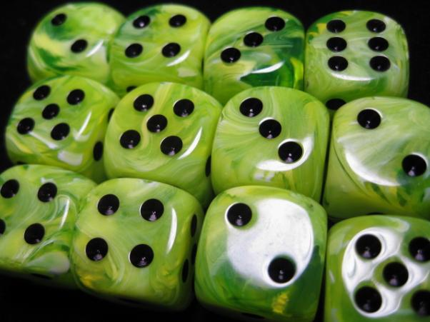 Chessex Dice Sets: Vortex Bright Green w/Black16mm d6 (12)