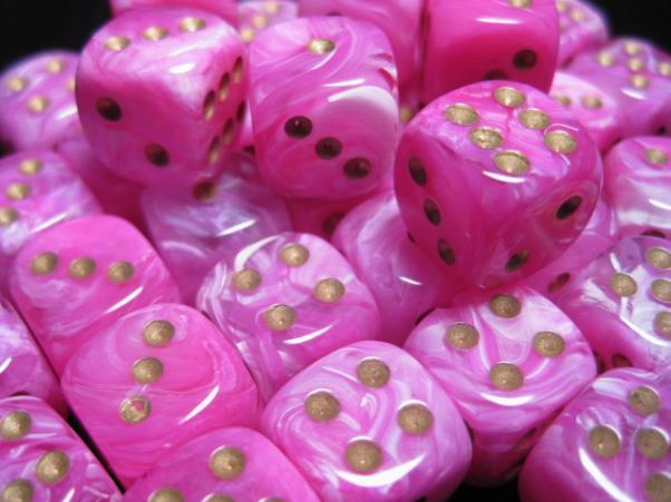 Chessex Dice Sets: Vortex Pink w/Gold 12mm d6 (36)