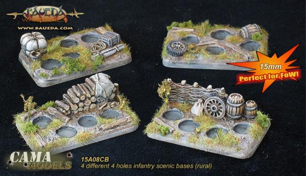 Cama Scenics (15mm WWII): Infantry Scenic Bases (rural)