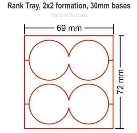 Hordes Tray Set: Rank Tray2x2, 30mm circle bases