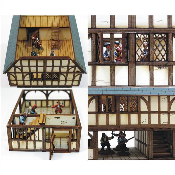 28mm ECW/Renaissance Terrain: Pre-Painted Timber Frame Market Hall & Jail