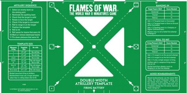Flames of War: Green Double-width Artillery Template (Imperial)