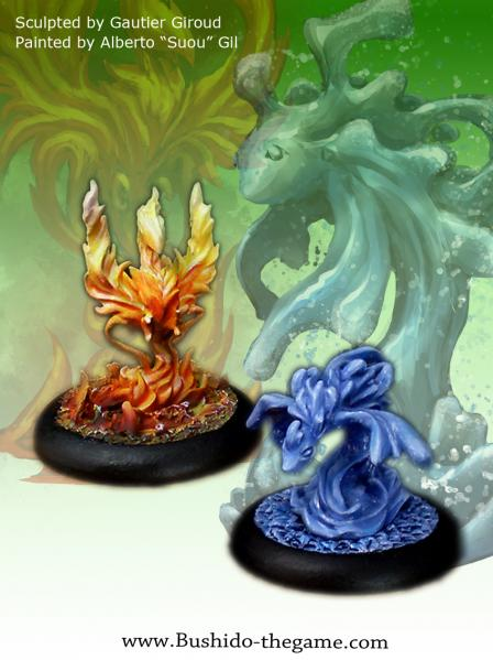 Bushido Miniatures: (Temple Of Ro-Kan) Lesser Kami's of the Evening Flame