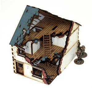 28mm World at War Terrain: Damaged Pre-painted Dettached House type 1