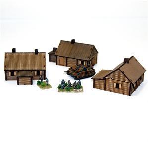 15mm European Buildings: Pre-painted Log Timber Village
