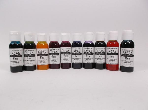 Minitaire Airbrush Paints: Freak Flex Transparent Tint Set - All Ten 1oz. Tints