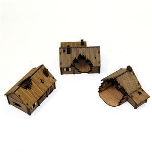 15mm European Buildings: Damaged Timber Log Village
