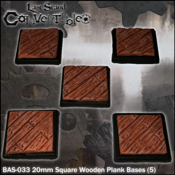 LSC Bases: 20mm Square Wooden Plank Bases (5)