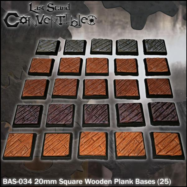 LSC Bases: 20mm Square Wooden Plank Bases (25)