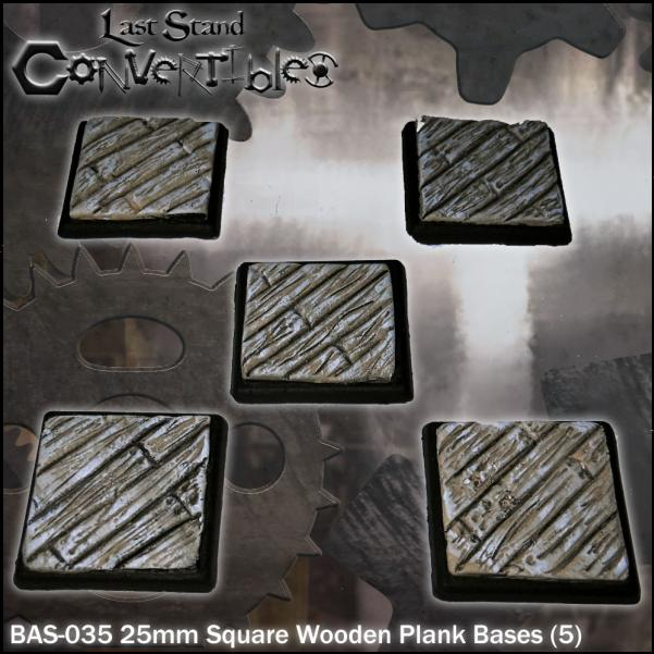 LSC Bases: 25mm Square Wooden Plank Bases (5)