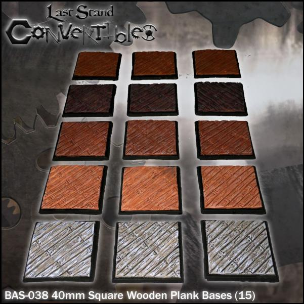 LSC Bases: 40mm Square Wooden Plank Bases (15)