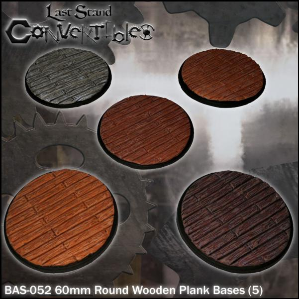 LSC Bases: 60mm Round Wooden Plank Bases (5)