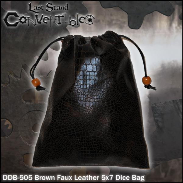 Dice Bags: Brown Faux Leather (5 x 7)