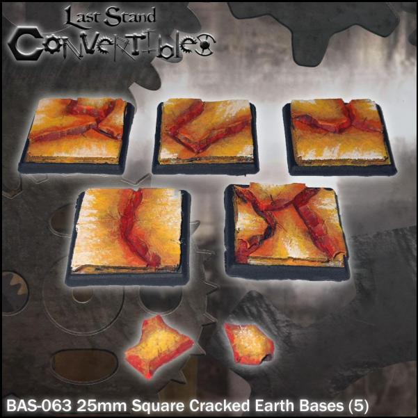 LSC Bases: 25mm Square Cracked Earth Bases (5)