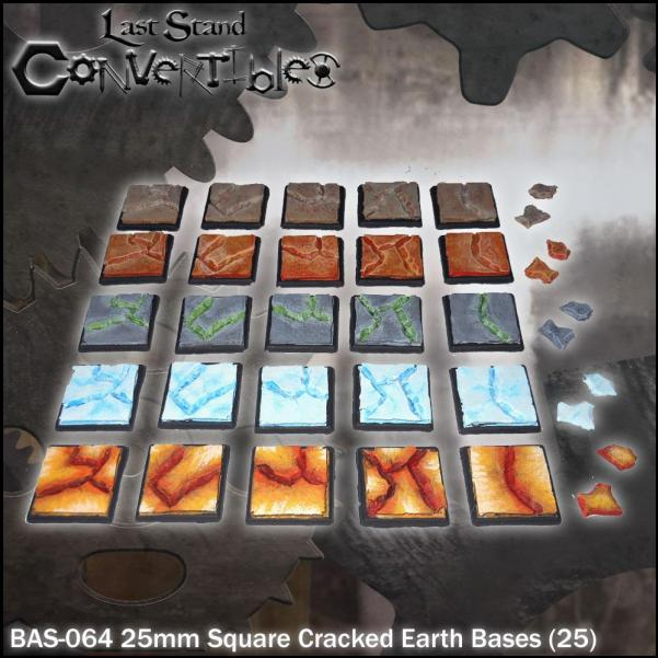 LSC Bases: 25mm Square Cracked Earth Bases (25)