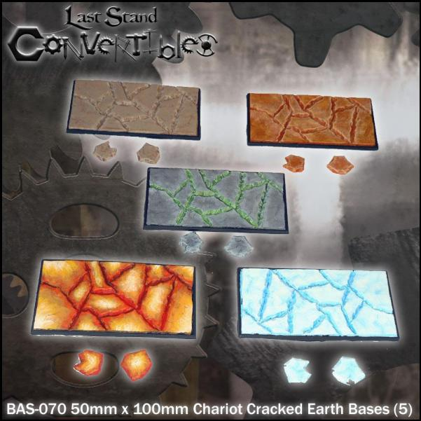 LSC Bases: 50mm x 100mm Chariot Cracked Earth Bases (5)