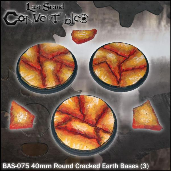 LSC Bases: 40mm Round Cracked Earth Bases (3)