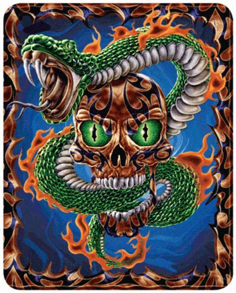 3D Motion Lenticular Bookmark: Snake Skull (2.25''x6'')