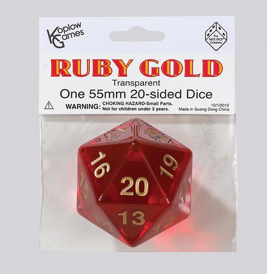 Single Dice: 55mm Ruby Gold Transparent Countdown D20  (1)