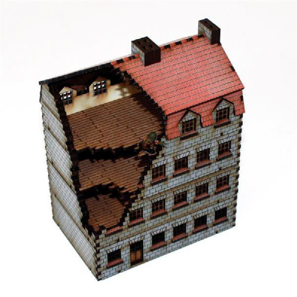 15mm European Buildings: Damaged Stone Bank/Appartments