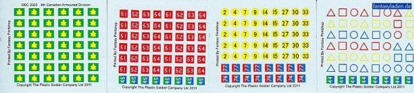 20mm Decal Sets:   4th Canadian Armoured Division